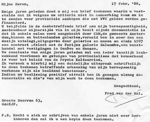 brief aan kultuerried 1988